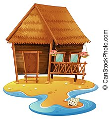 Wooden cabin on island