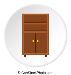 Wooden cabinet icon circle