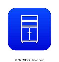 Wooden cabinet icon digital blue