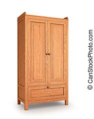 wooden cabinet, side view. 3d illustration