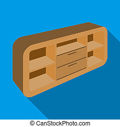 Wooden Cabinet with lockers and cupboards. TV stand. Bedroom furniture single icon in flat style bitmap symbol stock illustration.