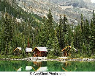 Wooden cabins at Lake O'Hara, Yoho National Park, Canada