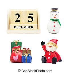 Wooden Calendar 25 DECEMBER with Christmas and New Year Decorate Snowman, Santa claus and gifbox isolated with clipping path