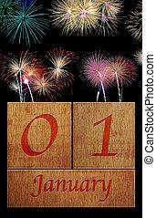Wooden calendar January 1.