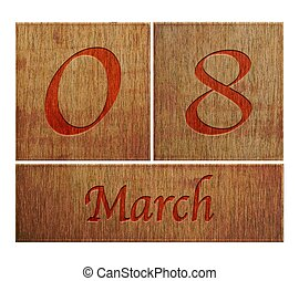 Illustration with a wooden calendar March 8.
