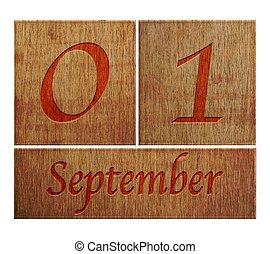 Wooden calendar September 1.
