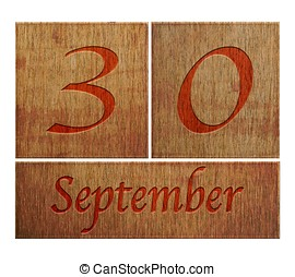 Wooden calendar September 30. - Illustration with a wooden...
