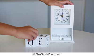 Wooden calendar with an important event for July 4, USA Independence Day