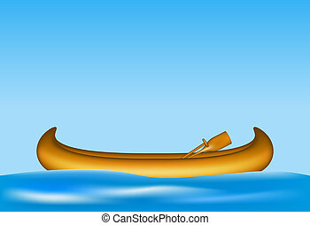 Wooden canoe floating on water - Wooden canoe with paddles...