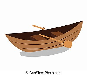 Wooden Canoe Isolated Icon