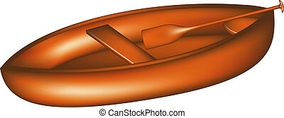 Wooden canoe with paddle