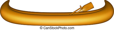 Wooden canoe with wooden paddles on white background