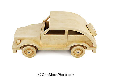 Wooden car isolated on white background.. 3d.