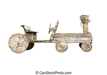 Wooden car isolated on white background