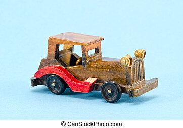 wooden  car model an azure background
