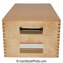 wooden card index box
