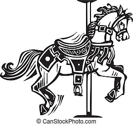 Wooden Carousel Horse - Woodcut style image of a wooden...