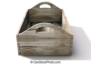 Wooden Carry Crate - A 3D render of an open empty wooden box...