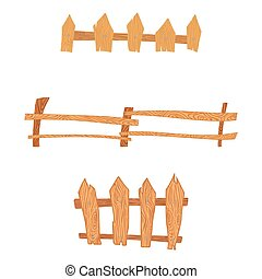 Wooden cartoon fences set
