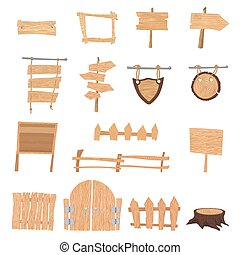 Wooden cartoon signs