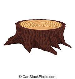Wooden cartoon stump