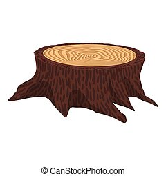 Wooden cartoon stump
