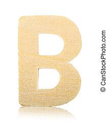 Wooden carved alphabet letter, B.