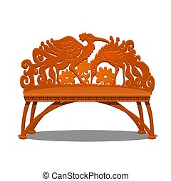 Wooden carved bench in the form of fantasy birds isolated on white background. Vector cartoon close-up illustration.