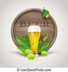 Wooden cask, beer glass & ripe hops