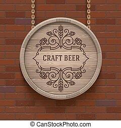 Wooden cask signboard