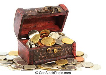 Wooden casket full of coins thai isolated on white