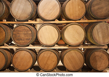 Wooden casks in a vinery stock