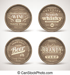 Wooden casks with alcohol drinks - Set of wooden casks with ...