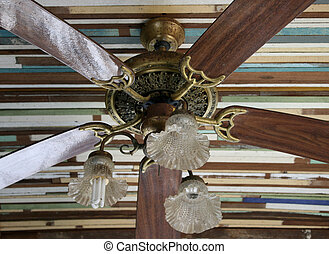 Tropical wooden colonial style ceiling fan stock photographs wooden ceiling fan in classic tropical style aloadofball Image collections