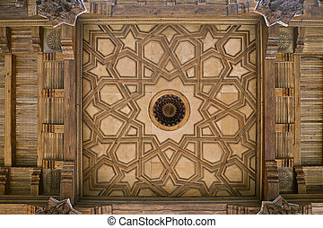 Wooden ceiling of a mosque in Uzbekistan
