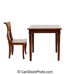 Wooden chair and table isolated - wooden chair and table...