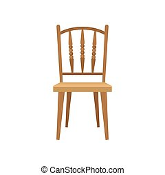 Wooden chair, design element for home interior vector Illustration on a white background
