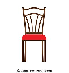 Wooden chair front view vector icon furniture. Classic interior sit. Retro brown cartoon home element flat room