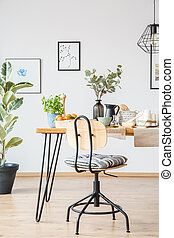 Wooden chair in dining room