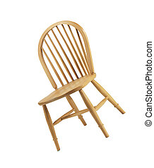 Wooden chair isolated on the white background