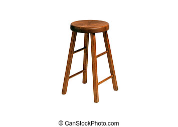 wooden chair, isolated on the white background