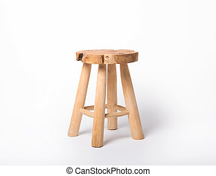 Wooden chair on a white isolated background.