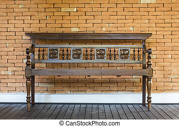 wooden chair on wall background