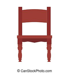 Wooden chair vector icon isolated white front view. Classic brown furniture interior cartoon seat. Vintage room element