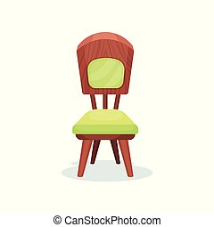Wooden chair with green upholstery, interior design element vector Illustration on a white background