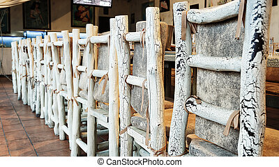 wooden chairs in the restaurant