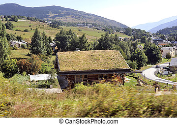 Wooden chalet with a roof with grass in a village in the Pyrenees