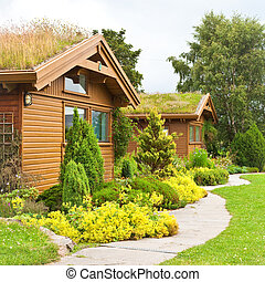 Nice wooden chalets in a rural setting