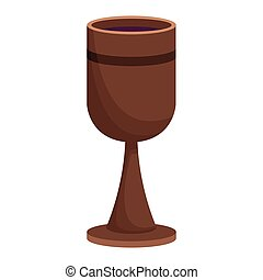 Wooden chalice wine isolated vector illustration graphic...