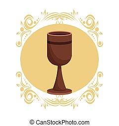 Wooden chalice wine round antique icon vector illustration...